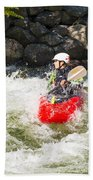 Red Whitewater Kayak Beach Towel