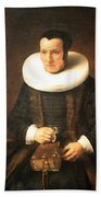 Rembrandt's An Old Lady With A Book Beach Towel
