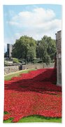 Remembrance Poppies At Tower Of London Beach Towel