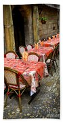Restaurant Patio In France Beach Towel