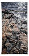 Rock Formations At Georgian Bay Beach Towel