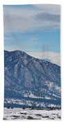 Rocky Mountains Flatirons And Longs Peak Panorama Boulder Beach Towel