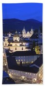 Salzburg At Night Austria  Beach Towel
