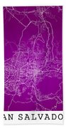 San Salvador Street Map - San Salvador El Salvador Road Map Art  Beach Towel