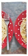 Sardines And Spaghetti Beach Towel by Tom Gowanlock