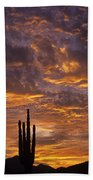 Silhouetted Saguaro Cactus Sunset At Dusk With Dramatic Clouds Beach Towel