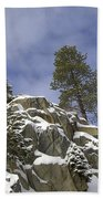 Snow Covered Cliffs And Trees II Beach Towel