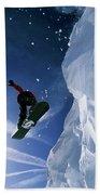 Snowboarding In Lake Tahoe Beach Towel