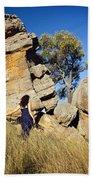 Split Rocks With Woman Beach Towel