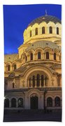 St Alexander Nevsky Cathedral At Dusk Sofia Bulgaria Beach Towel
