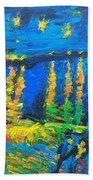 Starry Night Bridge Beach Towel