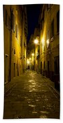 Street Alley By Night Beach Towel