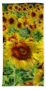 Sunny Sunflowers Beach Towel