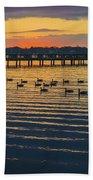 Sunset Geese Beach Towel