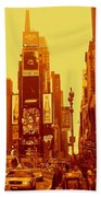 42nd Street And Times Square Manhattan Beach Towel