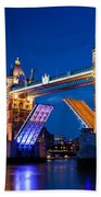 Tower Bridge In London Uk At Night Beach Towel