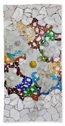 Trencadis Mosaic In Park Guell In Barcelona Beach Sheet