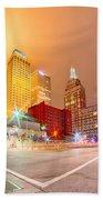 Tulsa City Skyline Around Downtown Streets Beach Towel