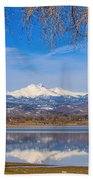 Twin Peaks Longs And Meeker Lake Reflection Beach Towel