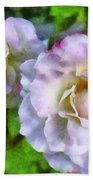 Two White Roses Beach Towel