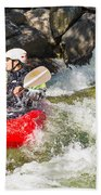 Two Whitewater Kayaks Beach Towel
