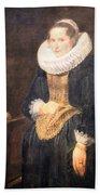 Van Dyck's Portrait Of A Flemish Lady Beach Towel
