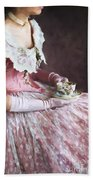 Victorian Woman Taking Tea Beach Towel