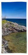 View Of Rock Harbor And Lake Superior Isle Royale National Park Beach Towel