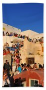 Waiting For The Sunset In Oia Town Beach Towel