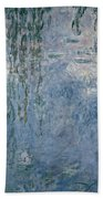 Waterlilies Morning With Weeping Willows Beach Towel