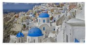 White Buildings With Steep Slope Beach Towel