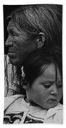White Mountain Apache Elder And Granddaughter Rodeo White River Arizona 1970 Beach Towel