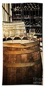 Wine  Glasses And Barrels Beach Towel
