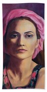 Woman In A Pink Turban Beach Towel