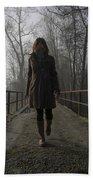 Woman Walking On A Bridge Beach Towel