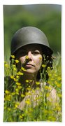 Woman With Military Helmet Beach Towel