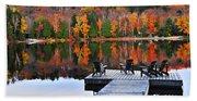 Wooden Dock On Autumn Lake Beach Sheet