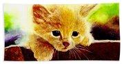 Yellow Kitten Beach Towel