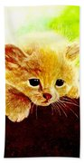 Yellow Kitten Beach Towel