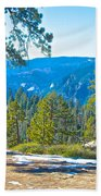 Yosemite Valley Mountainside From Sentinel Dome Trail In Yosemite Np-ca Beach Towel