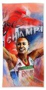 2012 Heptathlon Olympics Gold Medal Jessica Ennis  Beach Towel