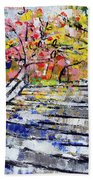 2014 19 Silver And Blue Stairs To Pink And Yellow Woods Srpsko Sarajevo Beach Towel