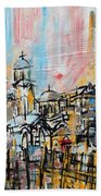 2014 23 City Street With Church At Sunset Srpsko Sarajevo Beach Towel