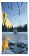 2m6538-yosemite Valley In Winter Beach Towel