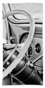 1933 Pontiac Steering Wheel -0463bw Beach Towel