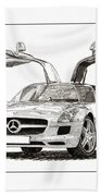 Gull Wing Mercedes Benz S L S Gull-wing Beach Towel