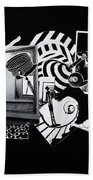 2d Elements In Black And White Beach Towel