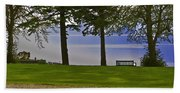 A Bench And Path On The Shore Of Loch Ness In Scotland Beach Towel