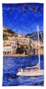 Amalfi Town In Italy Beach Towel