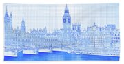 Arch Bridge Across A River, Westminster Beach Towel